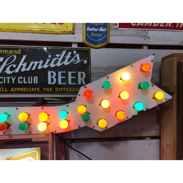 Metal 1930's Light Up Arrow Sign For Sale - Image 7 of 8