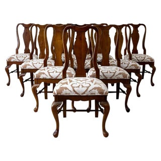 Set of 10 Queen Anne Style Mahogany Dining Chairs For Sale