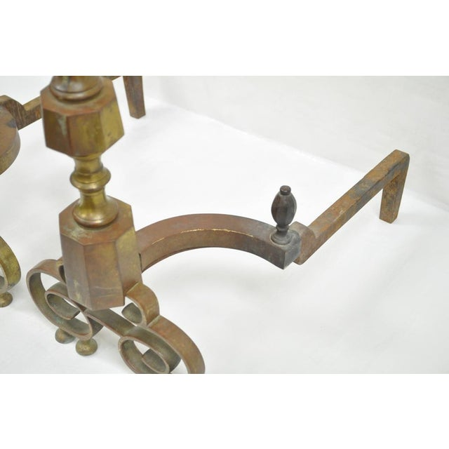 Late 19th Century 19th Century Antique Brass American Federal Fireplace Mantle Andirons - A Set For Sale - Image 5 of 11