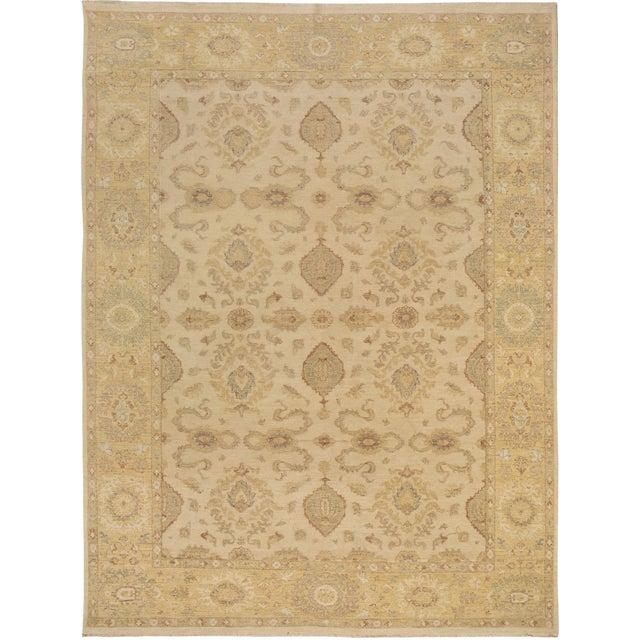 Kafkaz Peshawar Linwood Ivory & Gold Wool Rug - 9'0 X 12'1 For Sale