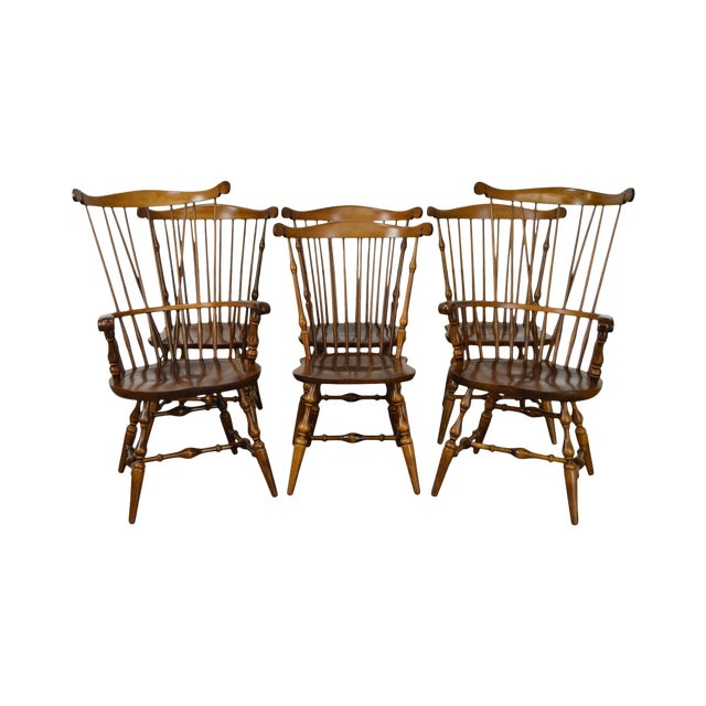 Nichols & Stone Set of 6 Windsor Style Dining Chairs - Image 1 of 10