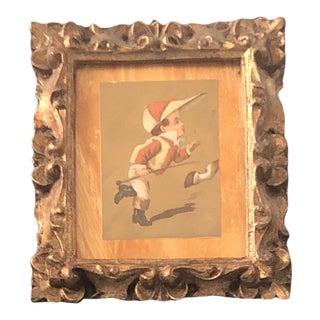 "Vintage Original Miniature Chromo Lithograph ""Jockey Chasing Horse"" Ornate Vintage Frame For Sale"