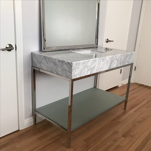 Mid-Century Modern Marble Bathroom Vanity with Chrome Mirror For Sale - Image 4 of 9