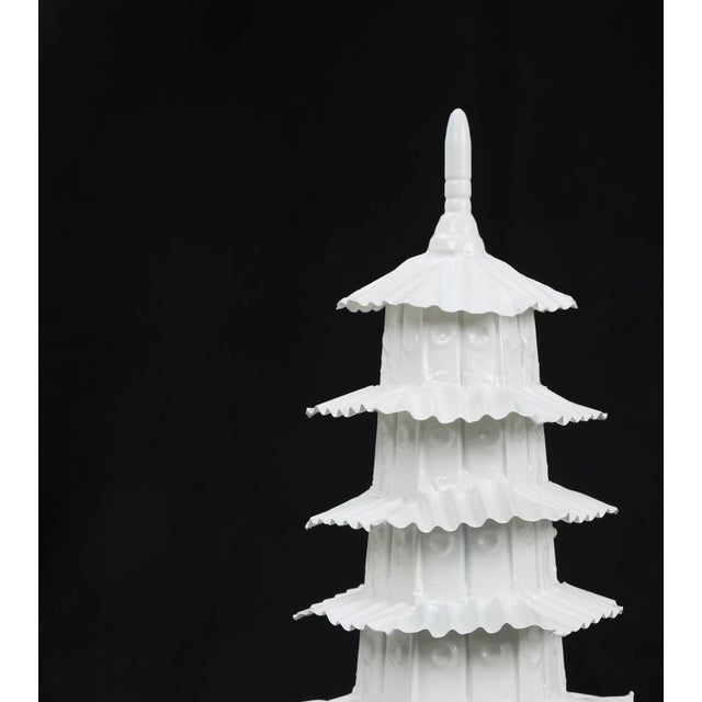 1970s Vintage Glossy White Pagoda For Sale - Image 4 of 7