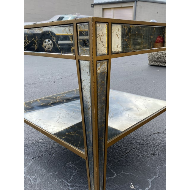 Silver Hollywood Regency Mirrored End Table For Sale - Image 8 of 10