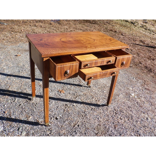 Brass Antique Sheraton Federal Walnut Petite Buffet Server Cart Entry Table Console For Sale - Image 7 of 13