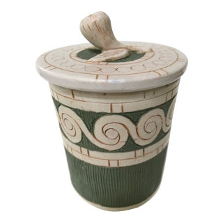 Italian Mid-Century Green & White Lidded Canister/Jar For Sale