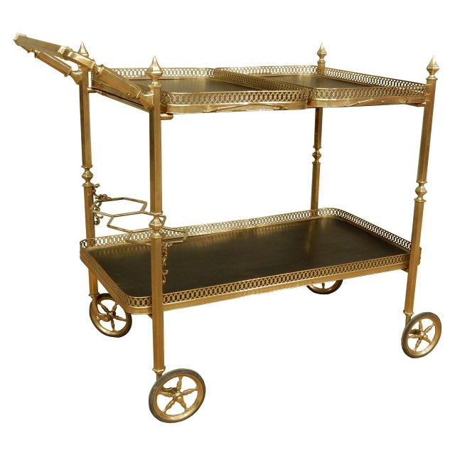 Gold Vintage French Brass Bar Cart For Sale - Image 8 of 8