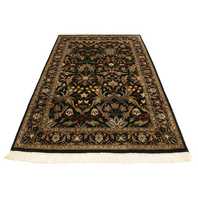 Asian Abusson Pak-Persian Mina Black/Blue Wool Rug - 4'2 X 6'2 For Sale - Image 3 of 8