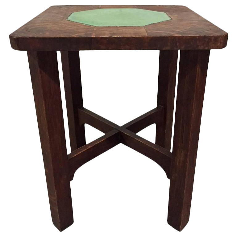 Rare Gustav Stickley Grueby Tile Top Table For Sale