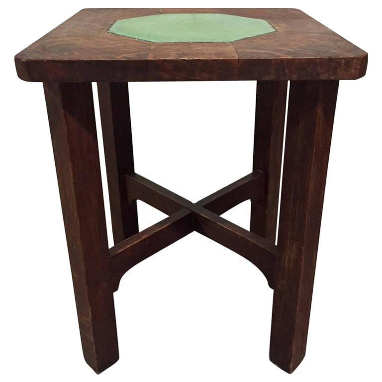 Rare Gustav Stickley Grueby Tile Top Table For Sale