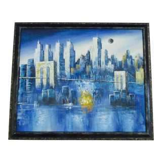 NYC Skyline Painting Manhattan Modernist Cityscape Art