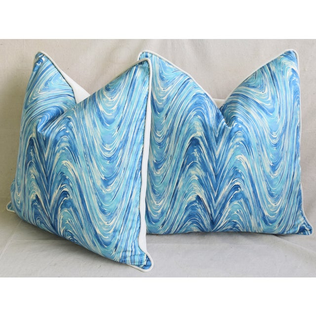 "Blue/White Marbleized Swirl Feather/Down Pillows 24"" Square - Pair For Sale - Image 9 of 13"