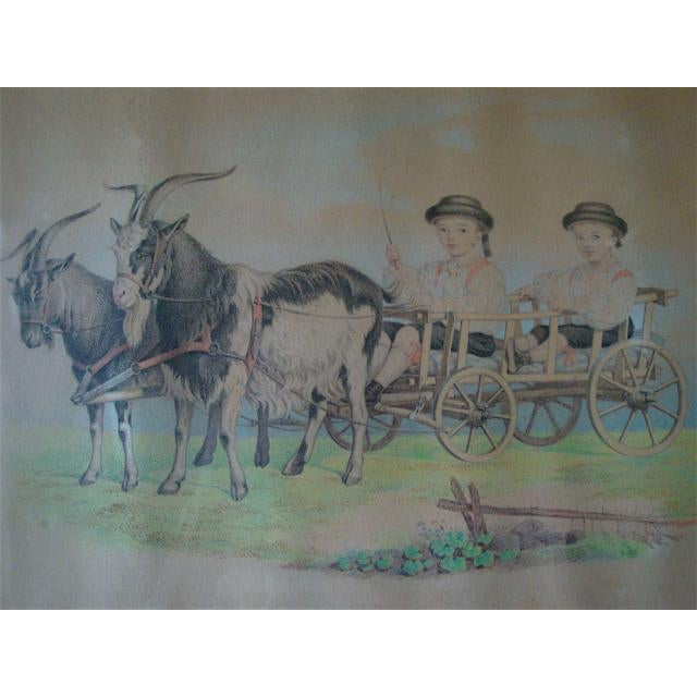 Unique 19th C antique charcoal and color pencil or watercolor tinted drawing of two young boys in cart being pulled by a...