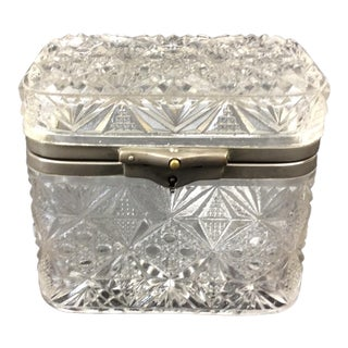 French Pressed Glass Jewelry Casket For Sale