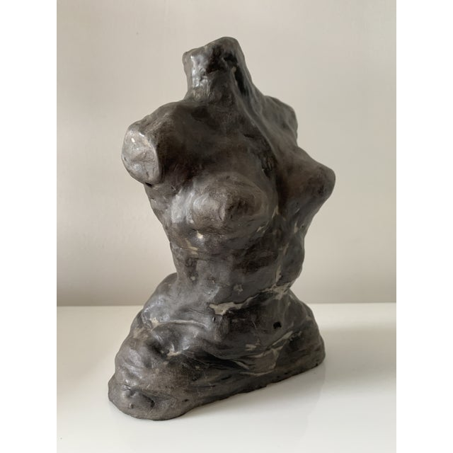 Realism Mid 20th Century Figurative Female Nude Torso Clay Sculpture For Sale - Image 3 of 10