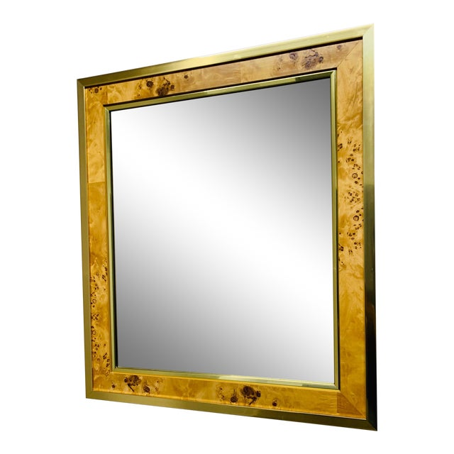 Mid Century Modern Brass and Burl Wood Mirror For Sale
