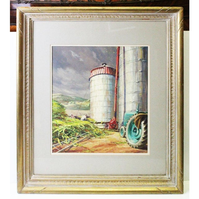 Gold Caddell Farm Silo Gouche Scene Painting For Sale - Image 8 of 8