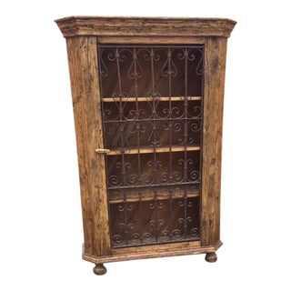 European Pine Bookcase With Antique Wrought Iron Gate Door For Sale