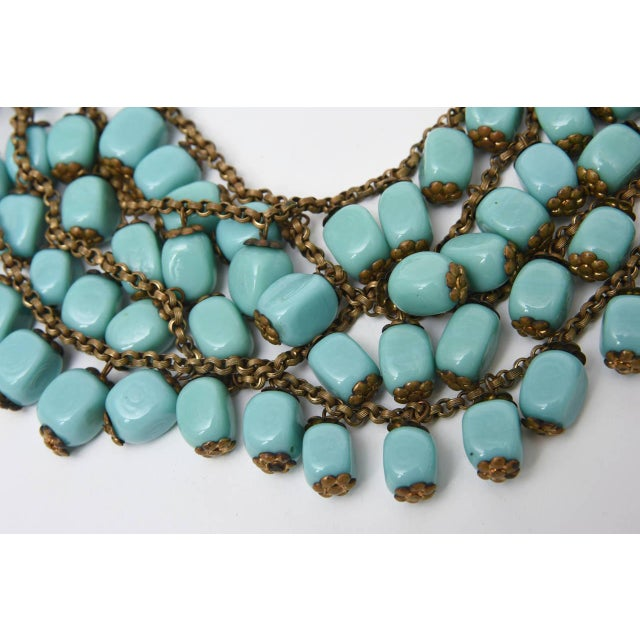Boho Chic Miriam Haskell Turquoise Glass Bead and Metal Bib Necklace Vintage For Sale - Image 3 of 9