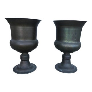 Large Mid-Century French Brass Urns For Sale
