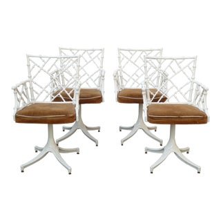 Chippendale Mid Century Modern White Cast Iron Swivel Chairs - Set of 4 For Sale