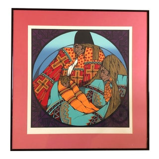 1980s Indigenous People's Serigraph by Southwest Artist Amado Murillo Peña For Sale