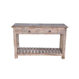 Rustic Duplin Two Drawer Mango Wood Console Table For Sale