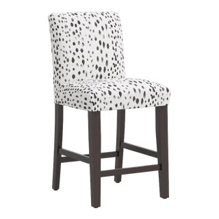 Counter Stool in Linen Leopard Ink For Sale