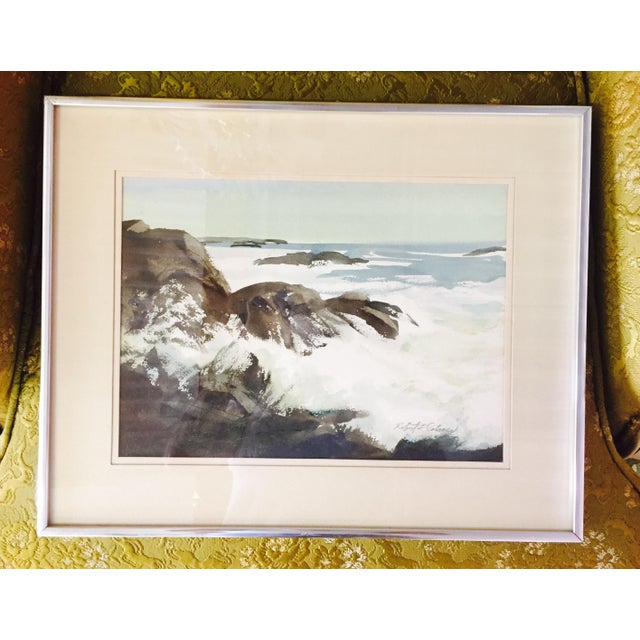 Vintage Framed Watercolor Seascape Painting - Image 4 of 8