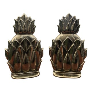 Virginia Metalcrafters Solid Brass Pineapple Bookends - a Pair For Sale