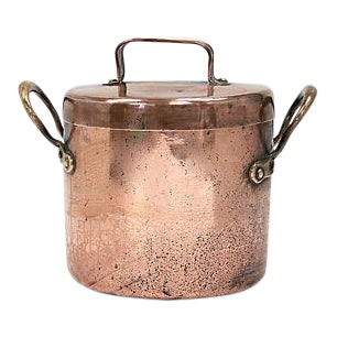 19th Century Heavy English Copper Soup Pot For Sale