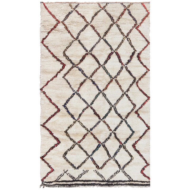 Vintage Beni Ourain Moroccan Ivory Rug - 4′8″ × 7′8″ For Sale - Image 9 of 9
