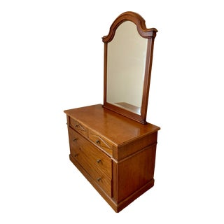 Guido Zichele Solid Maple Dresser and Mirror For Sale