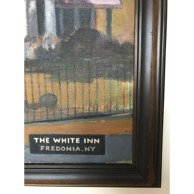 Stunning original oil painting on canvas by Alex O'Neal featuring The White Inn, Fredonia, NY, signed 1986. This painting...