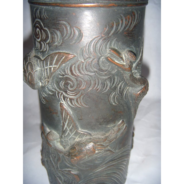 Antique Japanese Birds Flying Bronze Vase Chairish