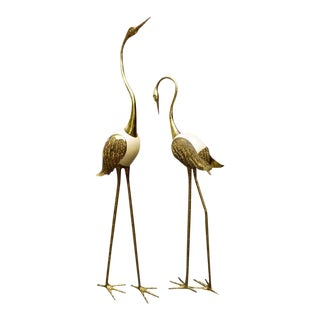 Pair of Large 1970's Life Size Brass Whopping Cranes For Sale
