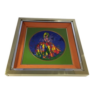 LeRoy Neiman Limited Edition Royal Doulton Columbine 1977 Framed Artwork Plate For Sale