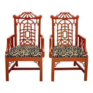 Vintage Chinese Red Chinoiserie Pagoda Bergere Chairs in Leopard -A Pair For Sale