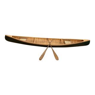 Handmade Wood Canoe Model For Sale