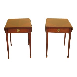 Baker Laura Ashley Inlaid Mahogany Drop Leaf Pembroke Tables - a Pair For Sale