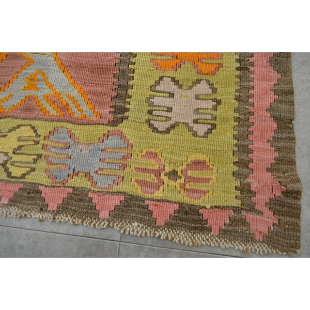 Green Turkish Hand Woven Shiny Tribal Runner Silk Rug - 3′10″ X 13′9″ For Sale - Image 8 of 10