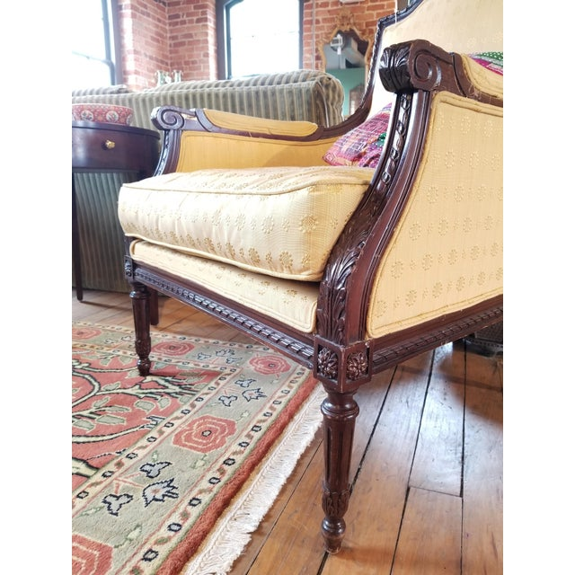 Early 20th Century Waldorf Astoria Ornately Carved Mahogany Bergere For Sale In Raleigh - Image 6 of 9