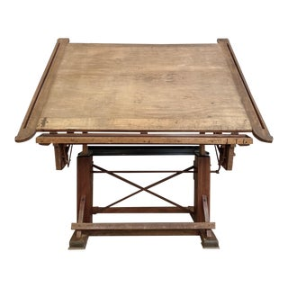 Early 20th Century Kahn Freres Fully Adjustable Drafting Table For Sale