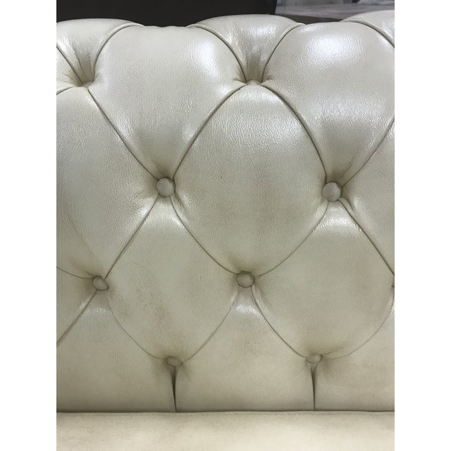 Hollywood Regency New Cream Leather Tufted Chesterfield Sofa For Sale - Image 3 of 4