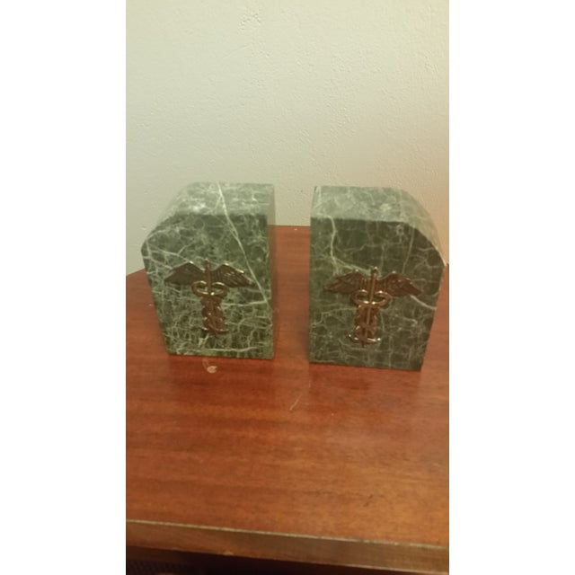 Green Vintage Bey-Berk Marble Medical Profession Bookends - a Pair For Sale - Image 8 of 8