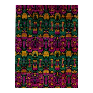 21st Century Modern Colorful Vibrant Indian Sari Silk Rug 8 X 10 For Sale