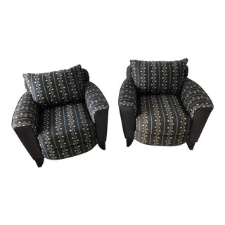 Transitional 1990s Vintage Swaim Black Leather and Cloth Accent Chairs - a Pair For Sale