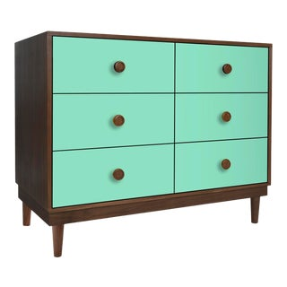 Lukka Modern Kids 6-Drawer Dresser in Walnut With Mint Finish For Sale