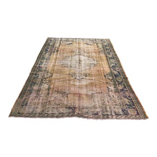 1960s Vintage Turkish Handwoven Rug - 6′4″ × 9′4″ For Sale